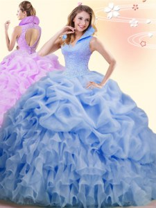 Popular Backless Sweet 16 Dresses Blue for Military Ball and Sweet 16 and Quinceanera with Beading and Ruffles and Pick Ups Brush Train