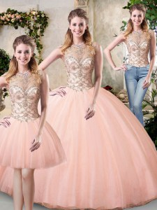 Lovely Scoop Peach Ball Gowns Beading 15th Birthday Dress Lace Up Tulle Sleeveless Floor Length