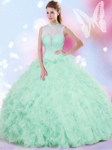 Affordable Ball Gowns 15 Quinceanera Dress Apple Green High-neck Tulle Sleeveless Floor Length Lace Up