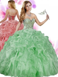 Most Popular Sleeveless Floor Length Beading and Ruffles Lace Up 15 Quinceanera Dress with Green