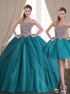 Three Piece With Train Lace Up Quince Ball Gowns Teal for Military Ball and Sweet 16 and Quinceanera with Beading Brush Train