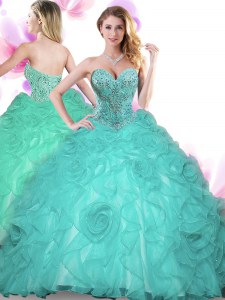 Clearance Sweetheart Sleeveless Organza Sweet 16 Dresses Beading Lace Up