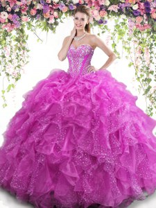 Glorious Beading and Ruffles 15th Birthday Dress Fuchsia Lace Up Sleeveless Floor Length