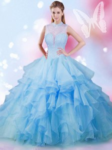 Baby Blue Sleeveless Tulle Lace Up Sweet 16 Dress for Military Ball and Sweet 16 and Quinceanera