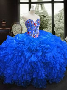 Organza Sweetheart Sleeveless Lace Up Embroidery and Ruffles Quinceanera Gown in Royal Blue