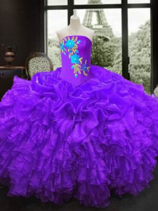 Glamorous Purple Lace Up Quinceanera Gowns Embroidery Sleeveless Floor Length