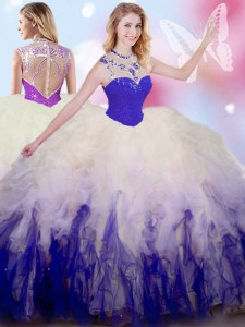 Popular White And Purple Ball Gowns Beading and Ruffles Vestidos de Quinceanera Zipper Tulle Sleeveless Floor Length