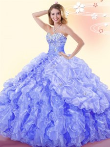 Beading and Ruffles and Pick Ups Quinceanera Dresses Blue Lace Up Sleeveless Floor Length