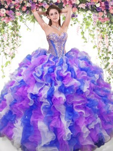 Glamorous Multi-color Sleeveless Floor Length Beading and Ruffles Lace Up Sweet 16 Quinceanera Dress