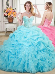 Sweetheart Sleeveless Organza 15 Quinceanera Dress Beading and Ruffles and Pick Ups Lace Up
