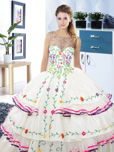 Scoop Beading and Embroidery and Ruffled Layers Sweet 16 Dresses White Lace Up Sleeveless Floor Length