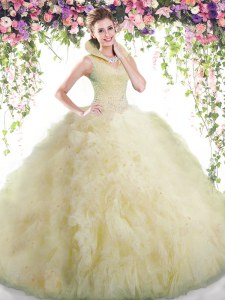 Fantastic Light Yellow Backless 15th Birthday Dress Beading and Ruffles Sleeveless Floor Length
