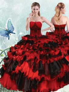 Free and Easy Red And Black Lace Up Quinceanera Gown Appliques and Ruffled Layers Sleeveless Floor Length