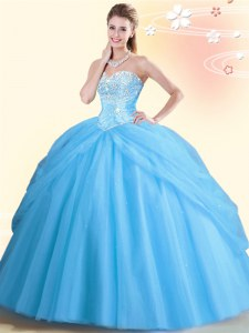 Floor Length Aqua Blue 15 Quinceanera Dress Sweetheart Sleeveless Lace Up