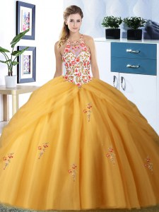 Shining Tulle Halter Top Sleeveless Lace Up Embroidery and Pick Ups 15 Quinceanera Dress in Gold