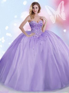 Sleeveless Floor Length Beading Lace Up Sweet 16 Quinceanera Dress with Lavender