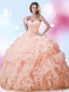 Clearance Peach Lace Up Sweet 16 Dress Beading and Ruffles and Pick Ups Sleeveless With Brush Train