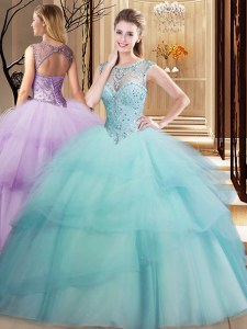 Custom Made Scoop Sleeveless Brush Train Lace Up Beading and Ruffled Layers Sweet 16 Dresses