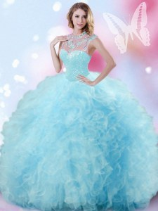 Tulle High-neck Sleeveless Zipper Beading and Ruffles and Pick Ups Sweet 16 Dress in Light Blue