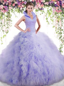 Lavender Sleeveless Floor Length Beading and Ruffles Backless Ball Gown Prom Dress