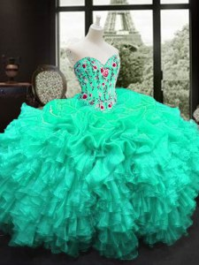 Admirable Turquoise Sleeveless Embroidery and Ruffles Floor Length Sweet 16 Dresses