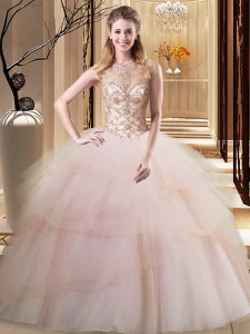 Clearance Peach Lace Up Scoop Beading and Ruffled Layers 15th Birthday Dress Tulle Sleeveless Brush Train