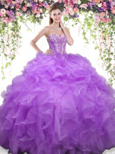 Lavender Organza Lace Up Sweetheart Sleeveless Floor Length Sweet 16 Quinceanera Dress Beading and Ruffles