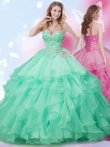 Fabulous Apple Green Ball Gowns Beading and Ruffles 15 Quinceanera Dress Lace Up Organza Sleeveless Floor Length