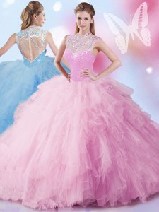 High-neck Sleeveless Tulle Ball Gown Prom Dress Beading and Ruffles and Sequins Zipper