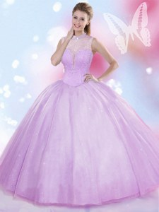 Elegant Lavender Tulle Lace Up High-neck Sleeveless Floor Length Quinceanera Gowns Beading