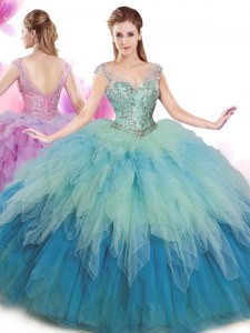 V-neck Cap Sleeves Tulle Ball Gown Prom Dress Beading and Ruffles Lace Up