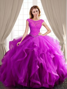 Excellent Fuchsia Tulle Lace Up Scoop Cap Sleeves With Train Vestidos de Quinceanera Brush Train Beading and Appliques and Ruffles