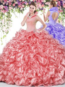 Exquisite Coral Red Sleeveless Organza Backless 15th Birthday Dress for Military Ball and Sweet 16 and Quinceanera