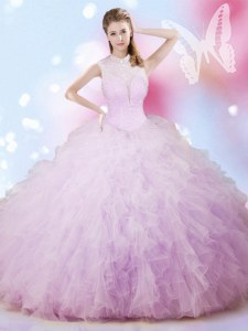 Delicate Floor Length Lavender Sweet 16 Quinceanera Dress Tulle Sleeveless Beading and Ruffles