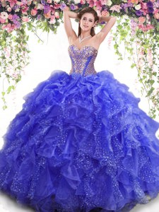 Custom Designed Sleeveless Floor Length Beading and Ruffles Lace Up Sweet 16 Dress with Blue