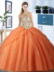 Customized Orange Halter Top Neckline Embroidery and Pick Ups Quinceanera Gowns Sleeveless Lace Up