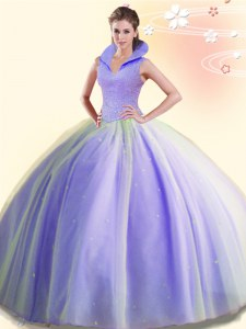 Nice Backless High-neck Sleeveless Quinceanera Dresses Floor Length Beading Lavender Tulle