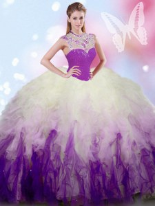 Ball Gowns Vestidos de Quinceanera White And Purple High-neck Tulle Sleeveless Floor Length Zipper