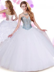 White Lace Up Quinceanera Dress Beading and Ruffles Sleeveless Floor Length