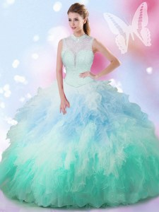 Multi-color High-neck Lace Up Beading and Ruffles 15 Quinceanera Dress Sleeveless