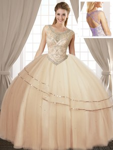 Fantastic Champagne Ball Gowns Tulle Scoop Sleeveless Beading Floor Length Lace Up 15 Quinceanera Dress