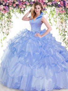 Traditional Backless Blue Sleeveless Beading and Ruffled Layers Floor Length 15th Birthday Dress