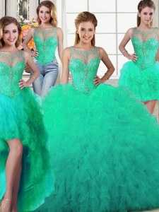 Four Piece Turquoise Ball Gowns Tulle Scoop Sleeveless Beading and Ruffles Floor Length Lace Up 15th Birthday Dress