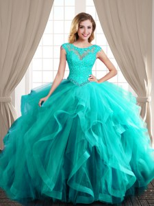 Fine Scoop Turquoise Tulle Lace Up 15th Birthday Dress Cap Sleeves With Brush Train Beading and Appliques and Ruffles