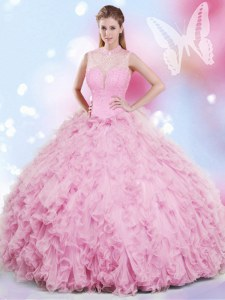Halter Top Rose Pink Lace Up Quinceanera Gown Beading and Ruffles Sleeveless Floor Length