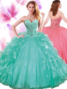 Sleeveless Floor Length Beading and Ruffles and Pick Ups Lace Up Quince Ball Gowns with Turquoise
