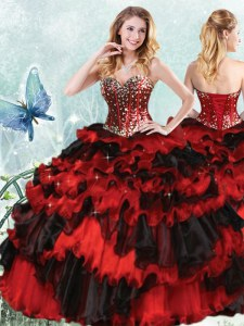 Delicate Sequins Ruffled Floor Length Red And Black Ball Gown Prom Dress Sweetheart Sleeveless Lace Up