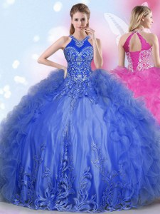 Beauteous Halter Top Royal Blue Lace Up Quinceanera Gowns Appliques and Ruffles Sleeveless Floor Length