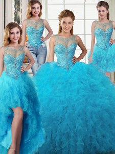 Four Piece Scoop Baby Blue Sleeveless Beading and Ruffles Floor Length Ball Gown Prom Dress