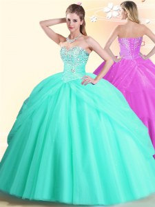 Smart Apple Green Lace Up Sweetheart Beading Quinceanera Dresses Tulle Sleeveless